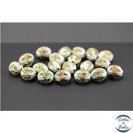 Perles chinoises cloisonnées - Ovales/14 mm - Blanc