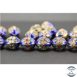 Perles chinoises cloisonnées - Ovales/14 mm - Bleu Capri