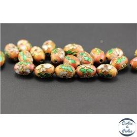 Perles chinoises cloisonnées - Ovales/15 mm - Rose orangé