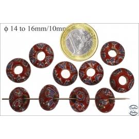 Perles de Goulimine & Pandora - Donuts/14 mm - Rouge