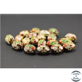 Perles chinoises cloisonnées - Ovales/15 mm - Marron