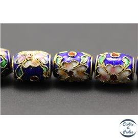 Perles chinoises cloisonnées - Tonneaux/10 mm - Bleu Capri