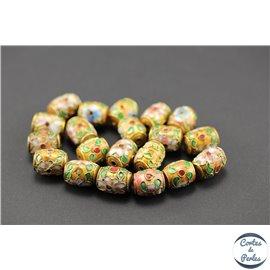 Perles chinoises cloisonnées - Tonneaux/10 mm - Orange rosé
