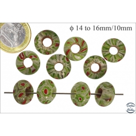 Perles de Goulimine & Pandora - Donuts/14 mm - Vert