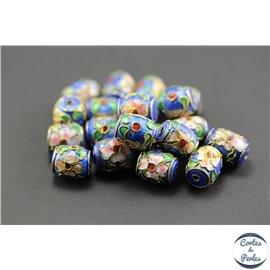 Perles chinoises cloisonnées - Tonneaux/10 mm - Bleu roi