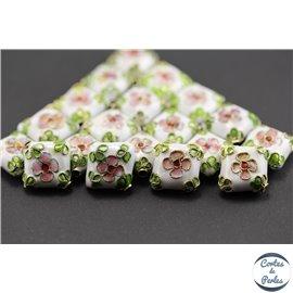 Perles chinoises cloisonnées - Carré/14 mm - Blanc
