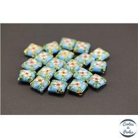 Perles chinoises cloisonnées - Carré/14 mm - Turquoise