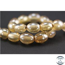 Perles indiennes en verre - Ovales/14 mm - Pêche clair