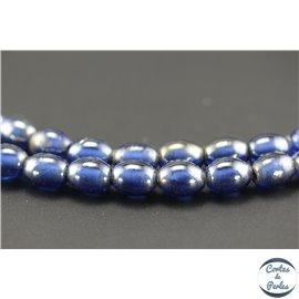 Perles indiennes en verre - Ovales/13 mm - Bleu océan