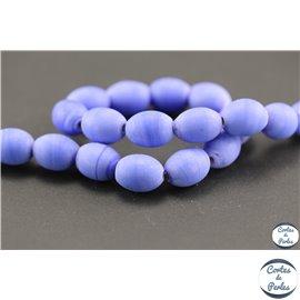Perles indiennes en verre - Ovales/13 mm - Lavande opaque