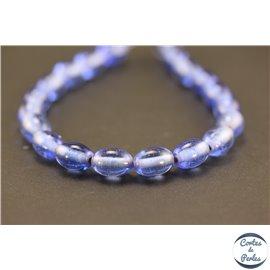 Perles indiennes en verre - Ovales/12 mm - Bleu translucide