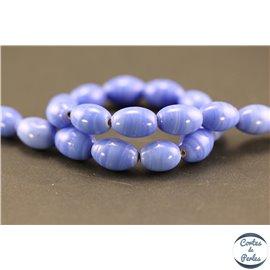 Perles indiennes en verre - Ovales/12 mm - Lavande brillant