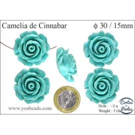 Perles semi précieuses en Cinabre - Fleur/30 mm - Vert