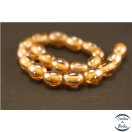 Perles indiennes en verre - Ovales/14 mm - Orange sandy