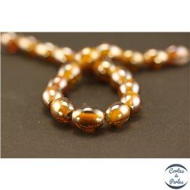 Perles indiennes en verre - Ovales/14 mm - Marron Pérou