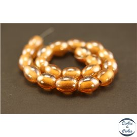 Perles indiennes en verre - Ovales/14 mm - Orange roux