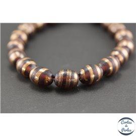 Perles indiennes en verre - Ovales/15 mm - Prune et doré