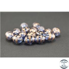 Perles indiennes en verre - Ovales/16 mm - Bleu clair doré