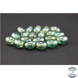 Perles indiennes en verre - Ovales/14 mm - Vert lagon
