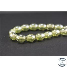Perles indiennes en verre - Ovales/13 mm - Vert jaune