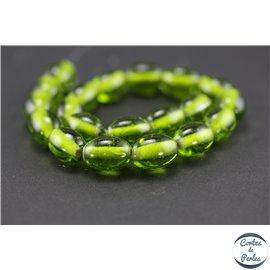 Perles indiennes en verre - Ovales/13 mm - Chartreuse