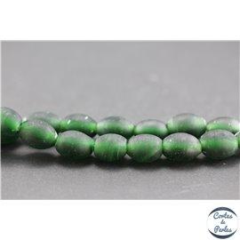 Perles indiennes en verre - Ovales/13 mm - Vert foncé