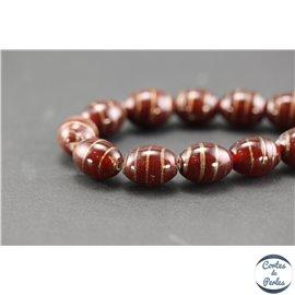 Perles indiennes en verre - Ovales/15 mm - Bordeaux doré