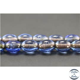 Perles indiennes en verre - Ovales/14 mm - Steel blue