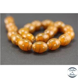 Perles indiennes en verre - Ovales/14 mm - Orange et doré
