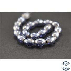 Perles indiennes en verre - Ovales/12 mm - Lilas silver