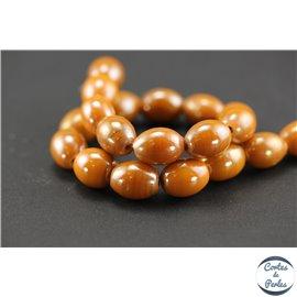 Perles indiennes en verre - Ovales/14 mm - Orange cuivre