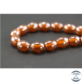 Perles indiennes en verre - Ovales/14 mm - Dark orange