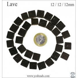 Perles de lave - Cubes/12 mm - Noir