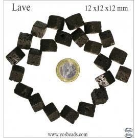 Perles de lave - Cube Diagonale/12 mm - Noir