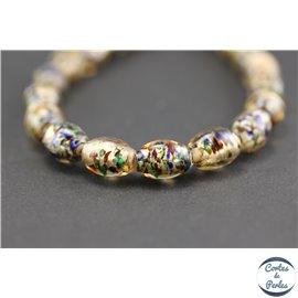 Perles indiennes en verre - Ovales/12 mm - Argenté multicolore