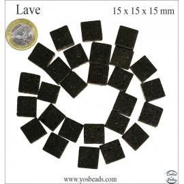 Perles de lave - Cubes/15 mm - Noir