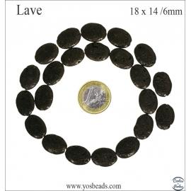 Perles de Lave - Ovale/18 mm - Noir
