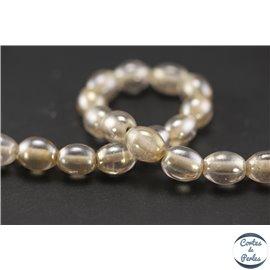 Perles indiennes en verre - Ovales/14 mm - Rose nacré