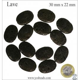 Perles de lave - Ovales/30 mm - Noir