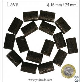 Perles de lave - Tubes/16 mm - Noir