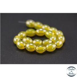 Perles indiennes en verre - Ovales/13 mm - Absinthe