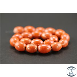 Perles indiennes en verre - Ovales/13 mm - Orange corail