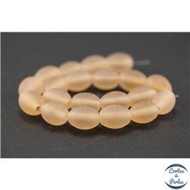 Perles indiennes en verre - Ovales/13 mm - Pink