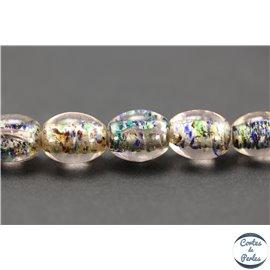 Perles indiennes en verre - Ovales/14 mm - Parme