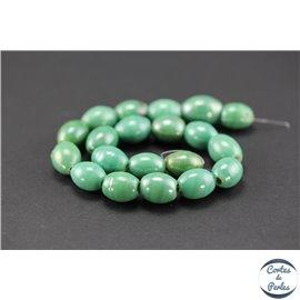 Perles indiennes en verre - Ovales/14 mm - Vert