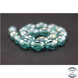 Perles indiennes en verre - Ovales/14 mm - Water blue
