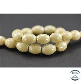 Perles indiennes en verre - Ovales/14 mm - Crème