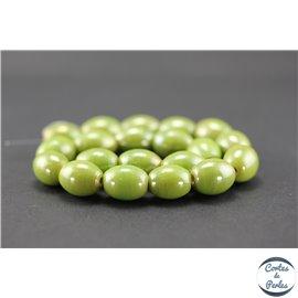 Perles indiennes en verre - Ovales/13 mm - Vert olive