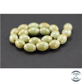 Perles indiennes en verre - Ovales/13 mm - Vert sable