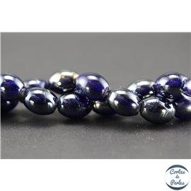 Perles indiennes en verre - Ovales/13 mm - Silver blue